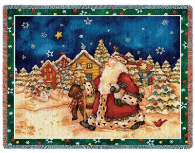 Walking Santa (Tapestry Throw)