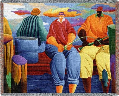 Pier Fishing (Tapestry Throw)