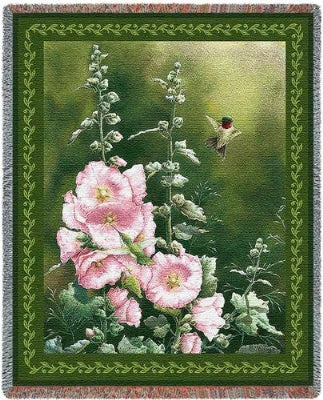 Hollyhock Hummer Tapestry (Tapestry Throw)