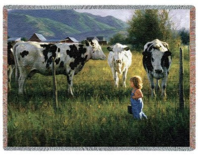 Anniken And The Cows (Tapestry Throw)