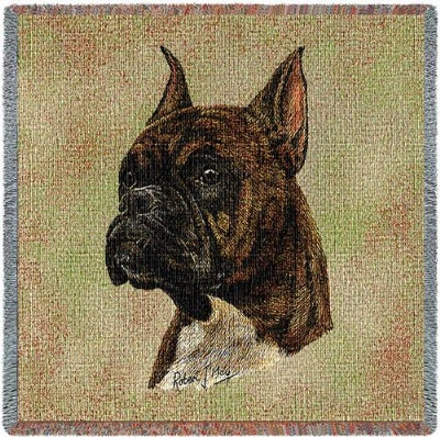 Boxer  Brindle Lap Square (Tapestry Throw)