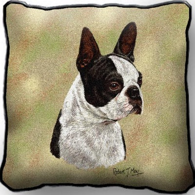 Boston Terrier Black Pillow (Pillow)