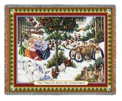Twelve Days Of Christmas (Tapestry Throw)