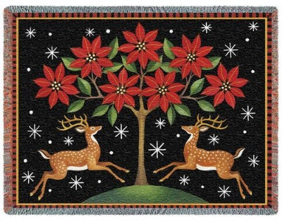 Deer Poinsettia & Tree (Tapestry Throw)