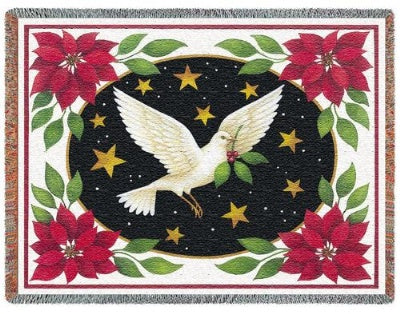 Dove And Poinsettias (Tapestry Throw)