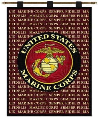 Semper Fi Wh-Wooden Rod (Wall Hanging)
