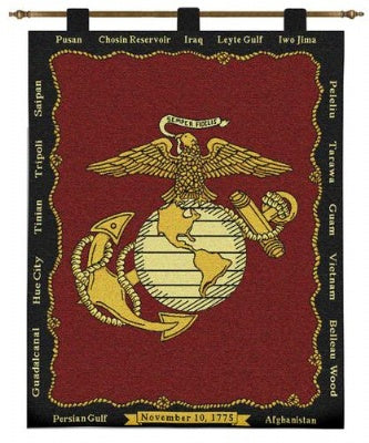 Marine Corp Wh-Wooden Rod (Wall Hanging)
