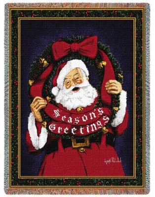 Season Greeting Santa (Tapestry Throw)