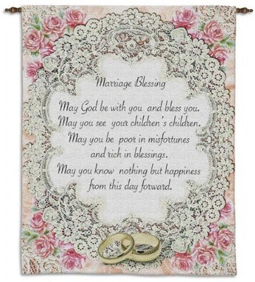 Marriage Blessing II WH BW/Include Wood Rod (Wall Hanging with Wood Rod)