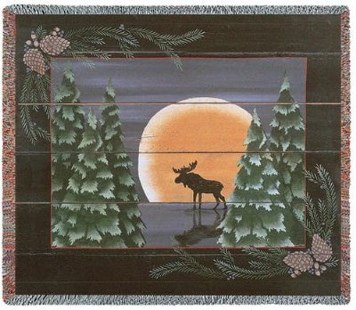 Moonlight Moose Tapestry (Tapestry Throw)