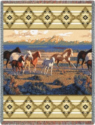 Wild Horses Beige Tapestry (Tapestry Throw)