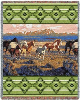 Wild Horses Green Tapestry (Tapestry Throw)