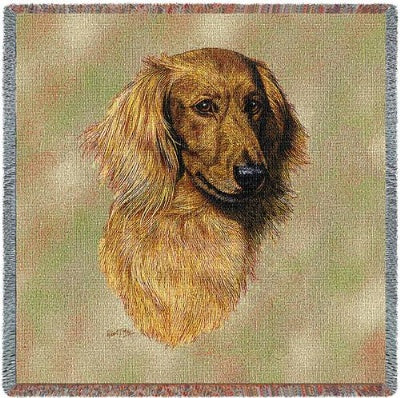 Brown Longhaired Dachshund (Tapestry Throw)