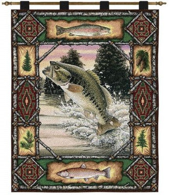 Fish Lodge  (Wall Hanging with Wood Rod)