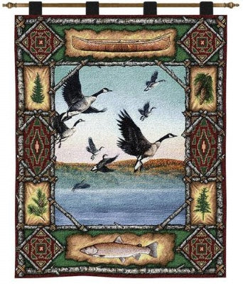 Geese Lodge  (Wall Hanging with Wood Rod)