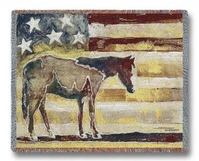 Horse Red White Blue Tapestry (Tapestry Throw)