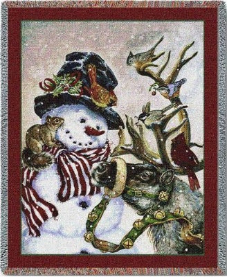 Snowman And Prancer (Tapestry Throw)