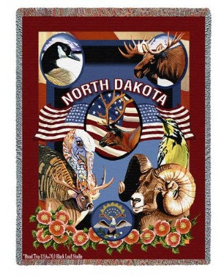 State Of North Dakota Tap (Tapestry Throw)