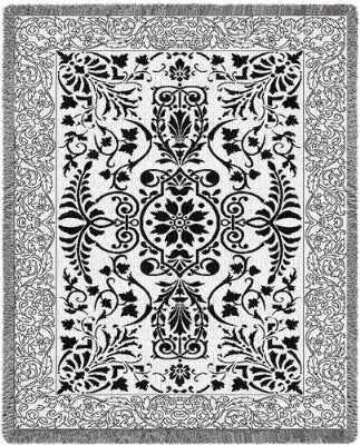 Black & White Floral Scroll (Afghan)