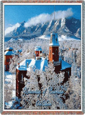 University Colorado Old Main Winter (Tapestry Throw)