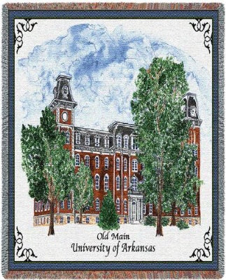 University Arkansas Old Main (Tapestry Throw)