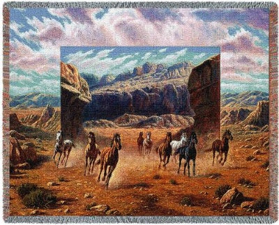 Running Horses Tap (Tapestry Throw)