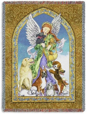 Angel and Dogs (Tapestry Throw)