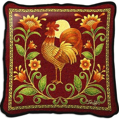 Sunrise Rooster Pillow (Pillow)
