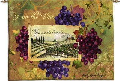I am the Vine Wall Hanging   Wood Rod (Wall Hanging with Wood Rod)