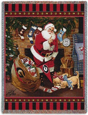 University Of Georgia Santa (Tapestry Throw)