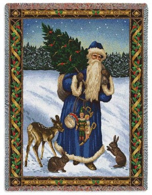 Father Christmas Blue (Tapestry Throw)