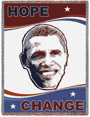 Obama Hope Change (Tapestry Throw)