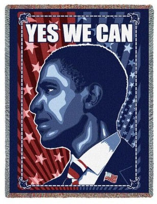 Yes We Can Obama Profile (Tapestry Throw)
