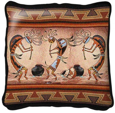 Kokopelli Pot Dance Pillow (Pillow)