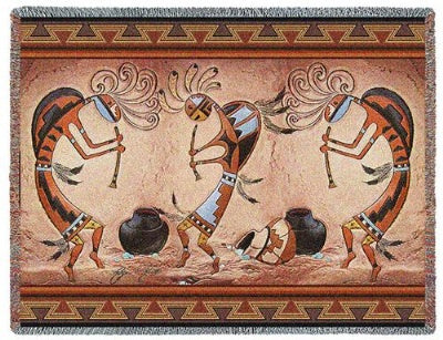 Kokopelli Pot Dance (Tapestry Throw)