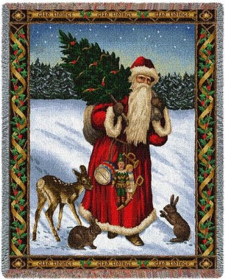 Father Christmas Red (Tapestry Throw)