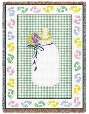 Baby Bottle Greenbw (Tapestry Throw)