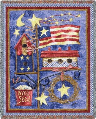 Flagpole Bird House (Tapestry Throw)