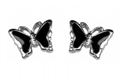 Butterfly Earrings (Black and Silver)