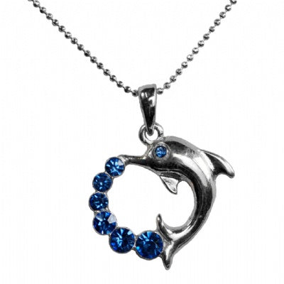 Blue Rhinestone Dolphin Heart Necklace