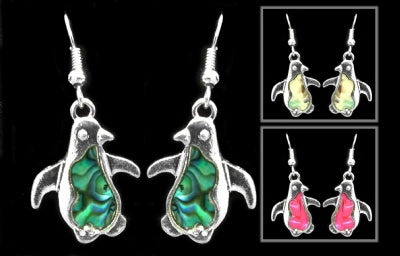 Iridescent Swirl Penguin Earrings