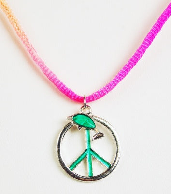 Glow Dolphin Peace Sign Necklace