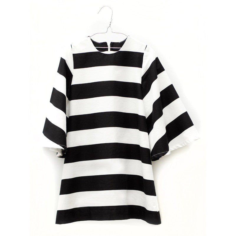 Lucena Dress - Black & White Stripes