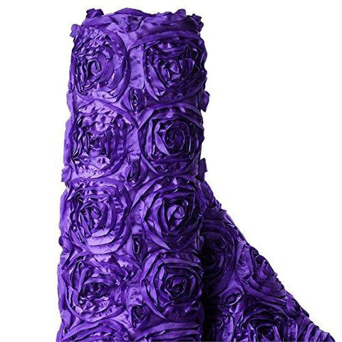 3D Floral Polyester Satin Rosette Fabric By The Yard Purple Perfect For Weddings, Receptions, Parties, Catered Presentations, Bridal