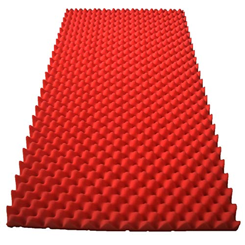 "RED SOUNDPROOF FOAM PROFESSIONAL ACOUSTIC 48"" X 96"" X 2"" CONVOLUTED FOAM SHEETS. ( 1 SET OF 2 )"