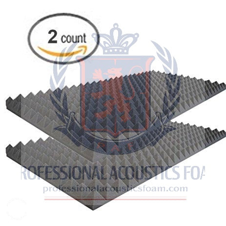 "Soundproof Foam Professional Charcoal Acoustic Foam Sound Absorption Pyramid Studio Treatment Wall Panel, 2"" X 48"" X 72"" (2 Pack)"