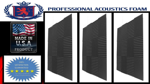 "Soundproof Foam Professional Acoustics Foam 36 Pack- Acoustic Panels Studio Foam Wedges 1"" X 12"" X 12"""