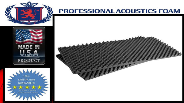 "Soundproof Foam Professional Acoustic 48"" X 96"" X 2"" Convoluted Foam Sheets. ( 1 Set of 2 ) CHARCOAL"