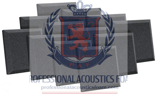 "Soundproof Foam Professional Acoustics Foam 12 Pack Acoustic Studio Soundproofing Foam Bevel Tiles 24"" X 24"" X 2"""