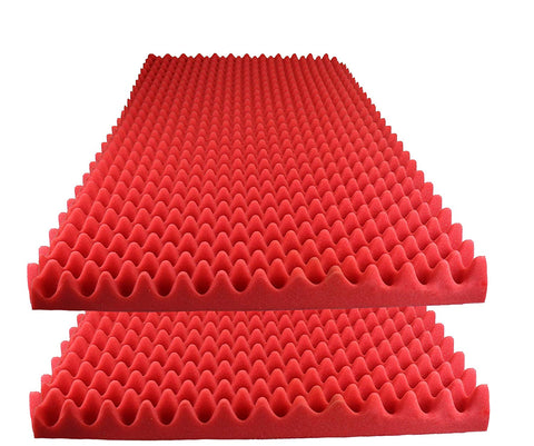 "Acoustic Foam Egg Crate Panel Studio Foam Wall Panel 48"" X 24"" X 2.5"" (2 Pack) Red"